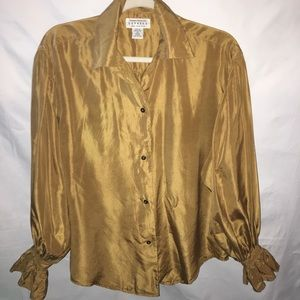 Express golden yellow 100% silk button up XS